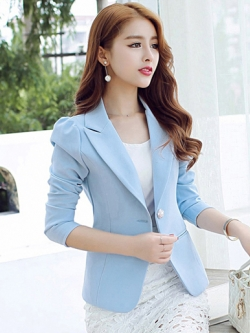 เสื้อสูทผู้หญิงสีฟ้าพาสเทลใส่ทำงาน สไตล์เรียบหรู 5 size S/M/L/XL/2XL รหัส 1648