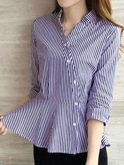 เสื้อเชื๊ตคอจีนแฟชั่นลายตรงกระดุมเฉียงชายเสื้อระบาย รหัส 1843-สีน้ำเงิน