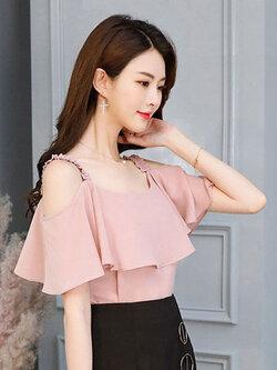 เสื้อแฟชั่น สายเดี่ยวแต่งอกระบายสวยหวานสไตล์เกาหลี รหัส 1856-สีชมพู