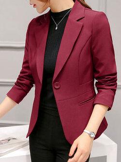เสื้อสูทผู้หญิงแฟชั่นสีไวน์แดงใส่ทำงาน สไตล์เรียบหรู 5 size S/M/L/XL/2XL รหัส 1695