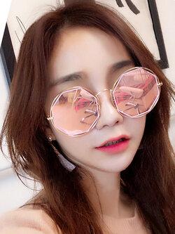 แว่นตาแฟชั่นกันแดด ทรง 8 เหลี่ยมกรอบกลมสไตล์เกาหลี รหัส G002