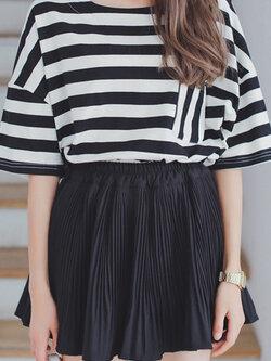 กระโปรงกางเกงผ้าชีฟอง-สีดำ