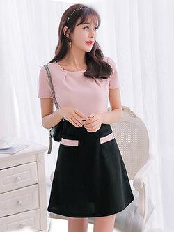 ชุดเดรสแฟชั่นแขนสั้นเสื้อสีชมพูต่อกระโปรงสีดำสวยหวานสไตล์เกาหลี รหัส 1634