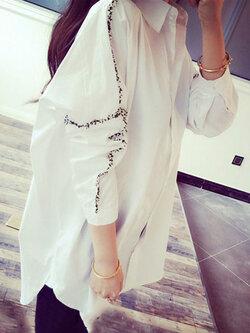 เสื้อเชื๊ตแฟชั่น คอปก แขนยาวใส่ง่ายๆ เท่หฺสไตล์เกาหลี รหัส 1716-สีขาว