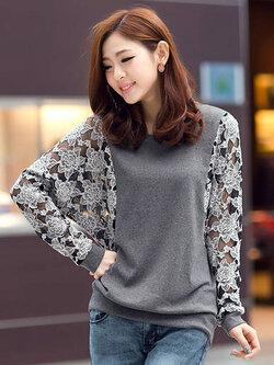 เสื้อยืดแฟชั่นคอกลมต่อแขนยาวผ้าลูกไม้สีเทาอ่อน สวยหวานสไตล์เกาหลี-1547-สีเทา