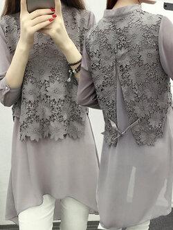 เสื้อแฟชั่น ชีฟอง แต่งลูกไม้ครึ่งท่อนบนใส่ได้ทุกงาน-1418-สีเทา