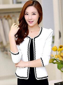 เสื้อสูทผู้หญิงสีขาวใส่ทำงาน สไตล์เรียบหรู 5 size S/M/L/XL/2XL รหัส 1390