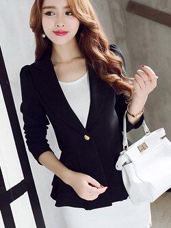 เสื้อสูทผู้หญิงสีดำเอวระบาย ใส่ทำงาน สไตล์เรียบหรู 5 size S/M/L/XL/XXL รหัส 1724
