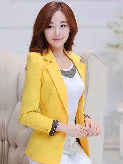 เสื้อสูทผู้หญิงแฟชั่นสีเหลือง สไตล์สวยหวาน มี 5 ไซส S/M/L/XL/2XL รหัส 1823