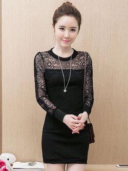 ชุดเดรสแฟชั่นสีดำ ช่วงแขนแต่งลูกไม้สวยหรูสไตล์เกาหลี รหัส 1460