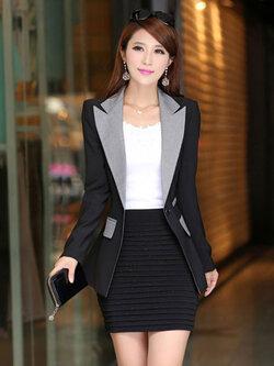 เสื้อสูทผู้หญิงแฟชั่นสีดำแต่งปกสีเทาใส่ทำงานสวยหรู 4 ไซส์ M /L /XL /2XL รหัส 1836