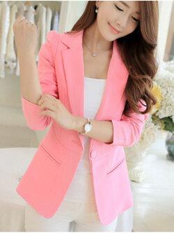 เสื้อสูทผู้หญิงแฟชั่นสีชมพู แบบสวยหวานสไตล์เกาหลี 5 ไซส S/M/L/XL/2XL รหัส 1822