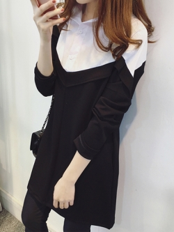 เสื้อแฟชั่นผู้หญิงแขนยาว แต่งคอปกสไตล์เกาหลี รหัส 1592-สีดำ