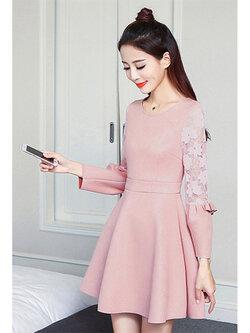ชุดเดรสแฟชั่น คอกลมแต่งแขนผ้าลูกไม้ใส่ออกงานสวยหรู สไตล์เกาหลี-1534-สีชมพู