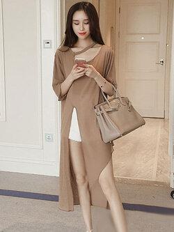 เสื้อแฟชั่นตัวยาวผ่าหน้า ใส่ชิลด์ ชิลด์ สวยหวานสไตล์เกาหลี รหัส 1686-สีกากี