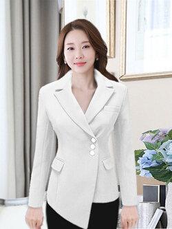 เสื้อสูทผู้หญิงแฟชั่นสีขาวแต่งเฉียงหน้าสุดเก๋ ใส่ทำงานหรือออกงานได้สวยหรู 5 ไซส์ S/ M /L /XL /2XL รหัส 1839-สีขาว