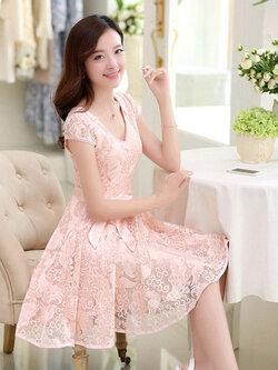 ชุดเดรสผ้าลูกไม้ใส่ออกงานสวยหรูจ้า รหัส 1250-สีชมพูโอลโรส
