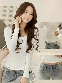 เสื้อยืดแฟชั่นแขนยาว เอวระบายต่อผ้าชีฟองพริ้วๆ-1551-สีขาว
