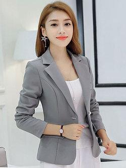 เสื้อสูทผู้หญิงแฟชั่นสีเทาใส่ทำงาน สไตล์เรียบหรู 5 size S/M/L/XL/2XL รหัส 1696