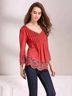 เสื้อลูกไม้แฟชั่น-1800-สีแดง