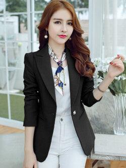 เสื้อสูทผู้หญิงแฟชั่นสีดำใส่ทำงาน สไตล์เรียบหรู 5 size S/M/L/XL/2XL รหัส 1825