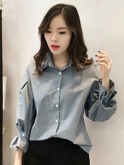 เสื้อแฟชั่นคอปก สไตล์เกาหลี รหัส 1596-สีฟ้าน้ำทะเล
