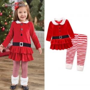 ชุดเซ็ต เสื้อคริสมาสต์สีแดง+กางเกงขายาว