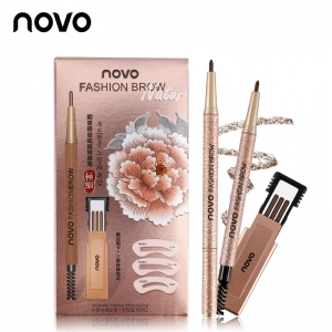 novo FASHION BROW โนโว ดินสอเขียนคิ้ว แบบหมุน มีแปรงปัดคิ้วในตัว แพคสุดคุ้ม พร้อมไส้ดินสอเปลี่ยน 3 แท่ง + บล็อกคิ้ว 3 แบบ