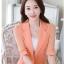 เสื้อสูทผู้หญิงสีส้มแต่งแขนและชายระบายชีฟองสไตล์สวยหรูมี 5 ไซส S/M/L/XL/2XL รหัส 1804