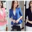 เสื้อสูทผู้หญิงใส่ทำงาน แต่งระบายที่ชายเสื้อสวยสไตล์เกาหลี-1205-สีชมพู thumbnail 3