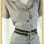 F0991ชุดทํางาน เสื้อผ้าคนอ้วนปกเทเลอร์ใหญ่เดินระบายตามขอบปกเสื้อ สุภาพเรียบร้อยมีโบเขียวเบรกลายคาดเอวพร้อมซับใน thumbnail 2