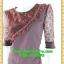 2547ชุดแซกทำงาน เสื้อผ้าคนอ้วนคอกลมสีมังคุดอมน้ำตาลแต่งระบายโค้งด้านหน้าพร้อมแขนลูกไม้โปร่งสวมใส่ออกงานหรูหรา thumbnail 3