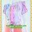 2453ชุดทํางาน เสื้อผ้าคนอ้วนลายทางสลับสีเข้มอ่อนคอกลมกุ๊นแขนกลีบบัวซ้อนสวยเรียบสไตล์ออริจินัล thumbnail 3