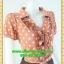 2420เสื้อผ้าคนอ้วน ชุดทำงานคอพวงระบาย ชุดกระโปรงน้ำตาลแต่งคู่เสื้อสีกะปิลายจุดสไตล์หวานน่ารักแขนตุ๊กตามีจีบเล็กน้อยเก็บรายละเอียดมากให้ได้ความสวยงาม thumbnail 2