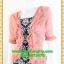 2816ชุดแซกทำงาน เสื้อผ้าคนอ้วนลายไทยคลุมด้วยตัวนอกสีชีฟองชมพูแต่งระบายปกแขนสไตล์หรูเนี๊ยบ มั่นใจ thumbnail 3