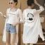 เสื้อคลุมแฟชั่นสีขาว ลายปริ้นท์น่ารักสไตล์เกาหลี รหัส 1601 thumbnail 1