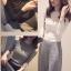เสื้อยืดไหมพรม แต่งโชว์ไหล่ สวยน่ารักสไตลเกาหลี มี 3 สี ดำ/เทา/ขาว-1500
