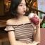 เสื้อไหมพรมแฟชั่นแต่งลายขวางแต่งคอปาดสวยหวานสไตล์เกาหลี-1712-สีกาแฟ thumbnail 1