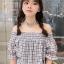 เสื้อแฟชั่นปาดไหล่ลายสก๊อตใส่สายคล้องคอเก๋ๆสไตล์เกาหลี-1623-สีขาว thumbnail 1
