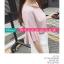 เสื้อยืดแฟชั่น ดีไซน์แต่งสายคล้องคอ 2 เส้นคู่ สวย เก๋ สไตล์เกาหลี-1553-สีชมพู thumbnail 2