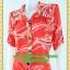 2493ชุดแซกทำงาน เสื้อผ้าคนอ้วนลายไทยส้มแดงปกเชิ๊ตเอวถ่วงผูกโบสไตล์สปอร์ต แขนยาวอินธนูทรงหลวมสวมใส่พรางรูปร่างผ้าอินโด thumbnail 3