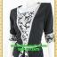 2634ชุดทํางาน เสื้อผ้าคนอ้วนสีดำลายวินเทจตัดต่อผ้าพื้นและลายคั่นด้วยกุ้นสี แขนยาว สไตล์เนี๊ยบสุดหรูมีรสนิยมเลือกชุดทำงาน thumbnail 3