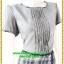 2926ชุดทํางาน เสื้อผ้าคนอ้วนสีเทากระโปรงลายสก็อตคอกลมแต่งเกล็ดด้านหน้าคลาสสิคสวมใส่ได้หลายโอกาส thumbnail 2