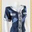 1501ชุดเดรสทำงาน เสื้อผ้าคนอ้วนสีกรมแต่งแถบขาวลายเบรคสีชุดอย่างสะดุด พรางด้วยเส้นขาวสไตล์สปอร์ตเลดี้เกิร์ลพร้อมกระเป๋าล้วงซ้ายขวา thumbnail 3