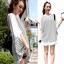เสื้อยืดแฟชั่นเกาหลี ทรงปีกค้างคาวลายริ้ว แขนเสื้อชีฟอง-1073-สีขาว thumbnail 1