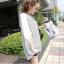 เสื้อยืดแฟชั่นเกาหลี ทรงปีกค้างคาวลายริ้ว แขนเสื้อชีฟอง รหัส 1073-สีขาว thumbnail 2