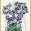 3058ชุดเสื้อผ้าคนอ้วน ชุดทำงานคอจีนลายไทยสีน้ำเงินสไตล์เปรี้ยวหรูไฮโซชุดคอจีนป้ายสำเร็จเก็บทรงเนี๊ยบสุด thumbnail 3