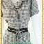 F0991ชุดทํางาน เสื้อผ้าคนอ้วนปกเทเลอร์ใหญ่เดินระบายตามขอบปกเสื้อ สุภาพเรียบร้อยมีโบเขียวเบรกลายคาดเอวพร้อมซับใน thumbnail 3