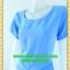 2602ชุดเดรสทำงาน เสื้อผ้าคนอ้วนคอกลมสีฟ้าเพิ่มความโดดเด่นให้กระโปรงทวิสต์ผ่าหน้าเพิ่มกระเป๋าล้วงข้างลำตัว thumbnail 3