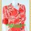 2493ชุดแซกทำงาน เสื้อผ้าคนอ้วนลายไทยส้มแดงปกเชิ๊ตเอวถ่วงผูกโบสไตล์สปอร์ต แขนยาวอินธนูทรงหลวมสวมใส่พรางรูปร่างผ้าอินโด thumbnail 2